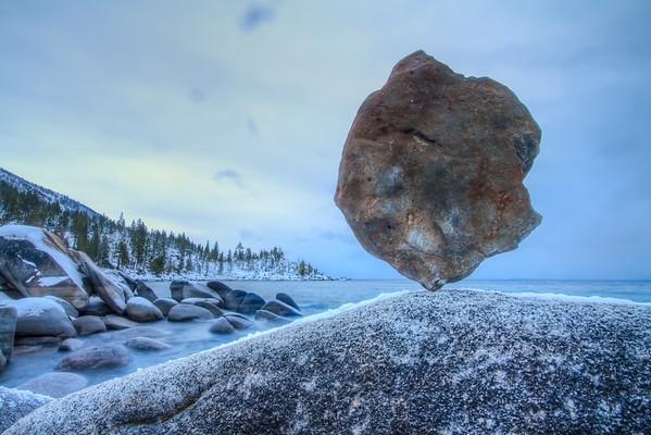 Tahoe Balance 1  - 40 pound stone balanced at Sand Harbor, Lake Tahoe State Park, NV. January, 2010.