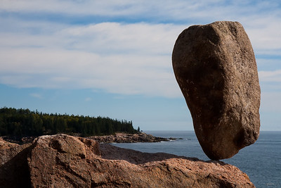 Acadia Balance 1-A  - 200 pound boulder balanced at Otter Cove, Acadia National Park, ME