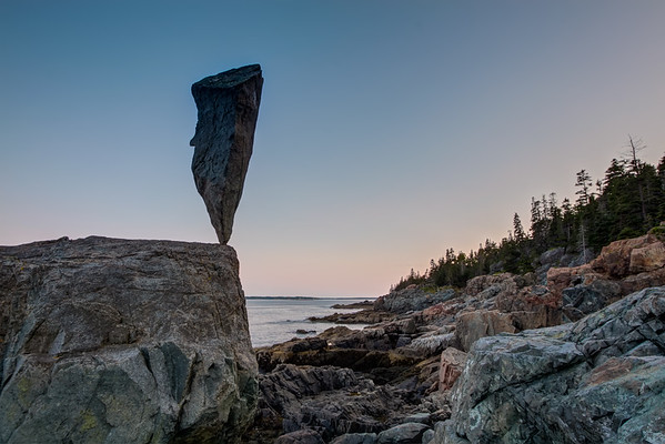 Acadia Balance 4  - 50 pound stone balanced near Blackwoods, Acadia National Park, ME. July 2009.