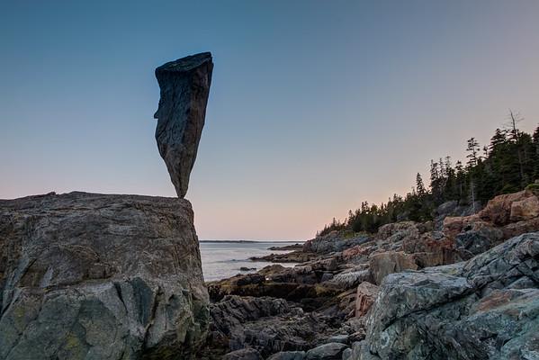 Acadia Balance 4  - 50 pound stone balanced near Blackwoods, Acadia National Park, ME. July 2009.
