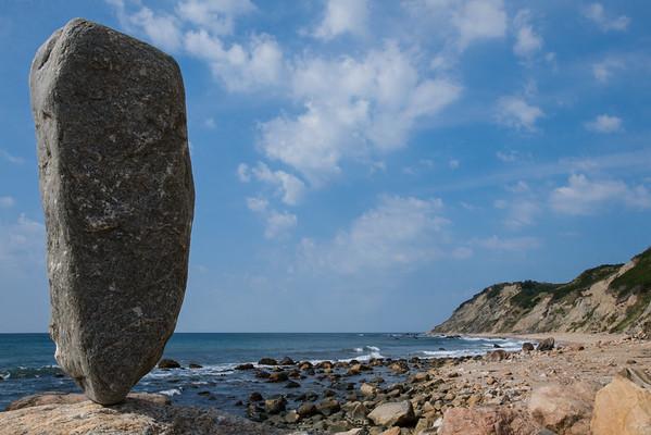 Block Island Balance 5  - 75 pound stone balanced at Corn Cove, Mohegan Bluffs, Block Island, RI. September 2007