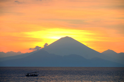 Mt. Agung volcano as seen from Lombok