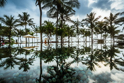 Reflection at W Bali's pool.