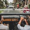 Road trip in a classic Volkswagen 181 car.
