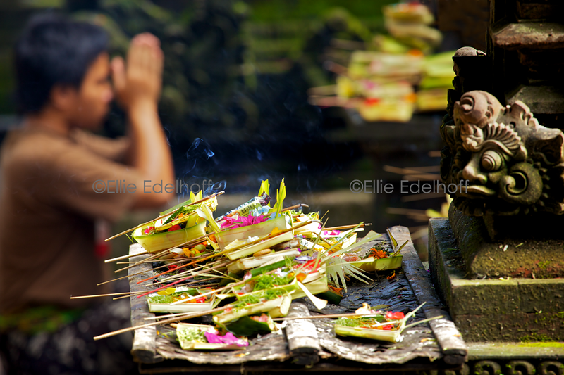 Prayers at Ubud Temple - Bali, Indonesia
