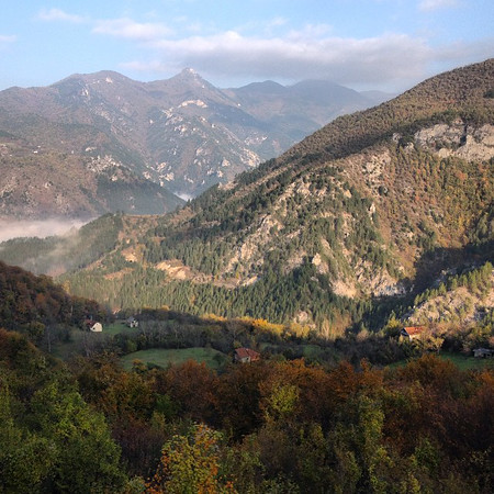 Carving the mountains by morning train: Sarajevo to Mostar. Crossing the invisible border from Bosnia to Hercegovina. Late autumn Balkans, leaves still turning. via Instagram http://ift.tt/1zZcQ68