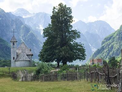 Church of Theth Against Mountain Backdrop - Theth, Albania