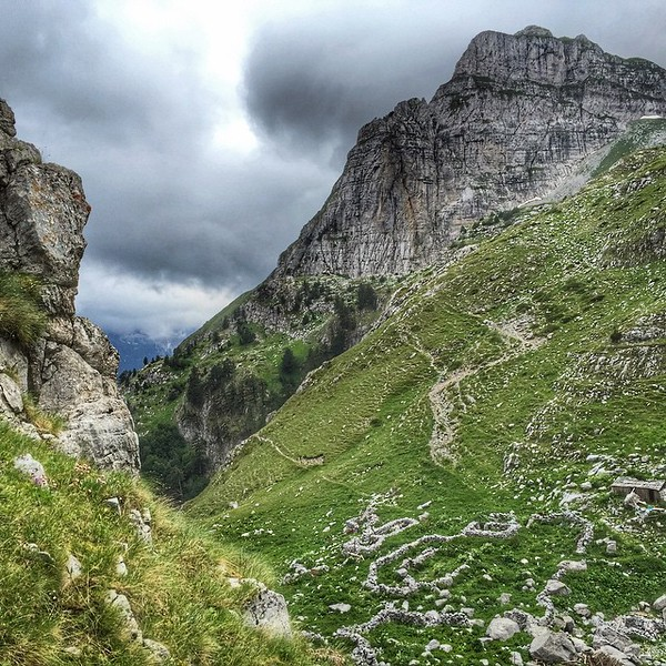 Peaks of the Balkans, the big climb, Day 1, 1200 meters up from the village of Valbona, on the approach to the border between Albania and Montenegro. A beauty that almost frightens. via Instagram http://ift.tt/1JiHvjf