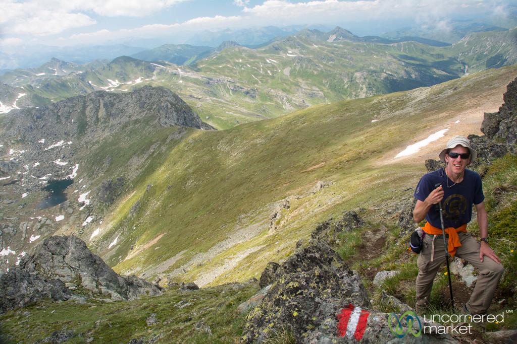 Dan Nears the Top of Mt. Gjeravica, Kosovo