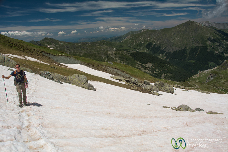Dan Walking through Snow on Way to Mt. Gjeravica, Kosovo - Peaks of the Balkans