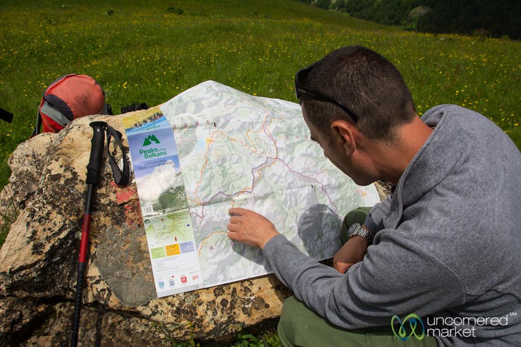 Trekking Guide Explaining Our Route - Peaks of the Balkans, Albania