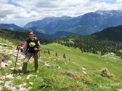 Audrey on Her Way Up Mt. Hajla, Kosovo