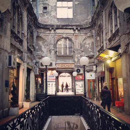 Nikola Spasić passage -- Belgrade, Serbia. Am a lover of these interior courtyard arcades I so often associate with Eastern Europe. This one has all the trappings of what Belgrade was to me on our walkabout: beauty in decrepitude, hints of old grandeur and a harkening of Yugoslavia. You can find it hiding off Kneza Mihailova in the old town. via Instagram http://ift.tt/1pvNuIC