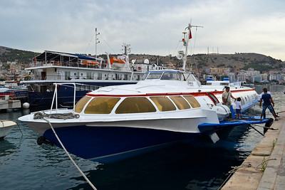 My hydrofoil arriving in Saranda