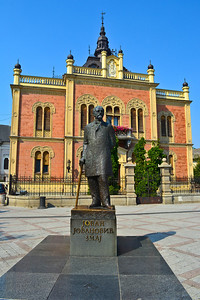 Bishop's Palace & statue of Jovan Jovanovic Zmaj (Serbian doctor & poet)