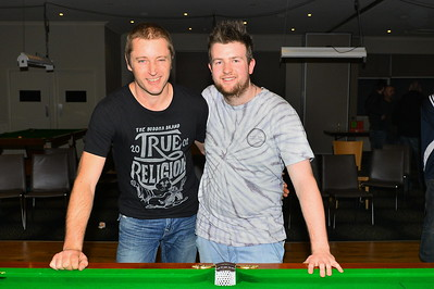2016 Riverland Berri Hotel 8Ball Comp. (L to R) Runner-up Peter Buterworth with winner Nick Young.
