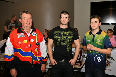 Ricky Emey (2014 champion) with Matt Curwood (2014 runner-up) with Neil Lemmey (event organiser)