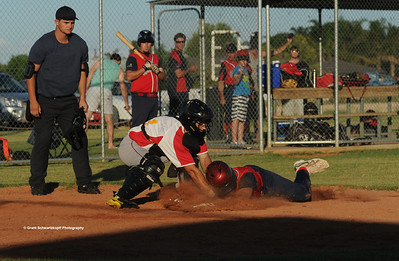 Kenny Karpenny Snr (Berri) steals home. Tristan Jackson (Lyrup) waits for ball .