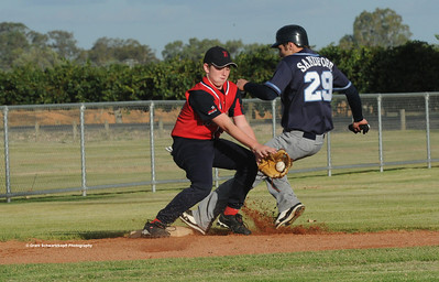 Ryan Sanford (Barmera) just makes it to 3rd base as Jesse Frazer (Berri) gets the ball