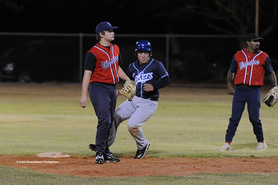 Ben Clavell (Barmera) makes it to 2nd base as  Scott Knudson (Berri) waits for ball. Kenny Karpenny (Berri) in background