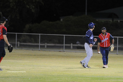 Kenny Karpenny (Berri) tags out Barmera runner between 1st and 2nd base