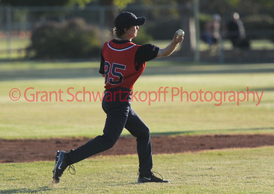 Mitch Crosbie (Berri) fires a return into 1st base