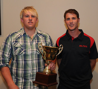 Tim Golding (Barmera) and Nick Kuhn (Berri) with the trophy for most home runs