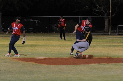 Peter Ackland (Loxton) tagged out at 2nd base by Jed Miller (Berri) Kenny Karpenny (Berri) backs up.