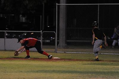 Gary Brinkworth (Berri) takes the throw at 1st base to run  out Loxton runner.