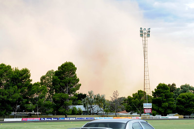 The storm front hits Renmark, holding up the start of the baseball