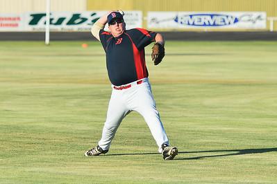 Matt Cutting (Berri) throws to 1st base