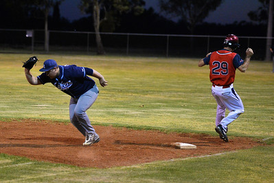 Steven Goldspink (Berri) out at 1st as  Jesse Stemberger (Barmera) takes the ball