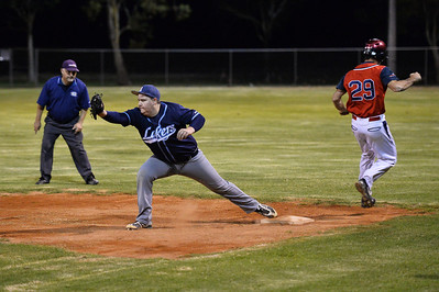 Steven Goldspink (Berri) safe at 1st  as Jesse Stemberger (Barmera) waits for the return