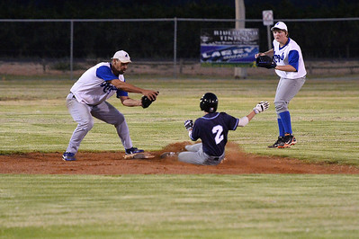 Jordan Walker (Barmera) safe at 2nd as Kevin McDonald (Renmark) takes the ball to tag as Nick Tregeagle (Renmark) backs up the play