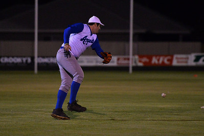 Dion Tregenza (Renmark) waits for the ball to return to earth
