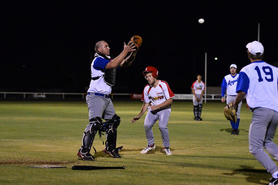 Dave Grenfell (Renmark) waits for the ball at home as the Lyrup player comes home.