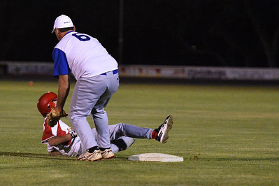Throw from Dave Grenfell (Renmark) to Shane Healy (Renmark) on 1st base results in a double play out, as the Lyrup player tries to touch base.