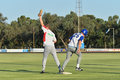 Dylan Blackley (Renmark) stretches out to 1st base  as the return comes into Callan Thielle (Lyrup)