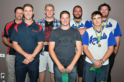 """A"" Grade Team of the Year 2013/2014  Paul Reid (Berri), Nick Kuhn (Berri), Tim Golding (Barmera), Dale Harwood (Barmera), Dave Grenfell (Renmark), Jaydon Perry (Renmark), Dion Tregeagle (Renmark),  Absent : Jason McGregor (Barmera), Stefan Best (Barmera), Steven Dack ( Barmera),  Coach of the Year Dave Grenfell (Renmark)"