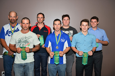 """B"" Grade Team of the Year 2013/2014  Kevin McDonald (Renmark), Roy Grenfell (Lyrup), Anton Cook (Berri), Dan Gilgen (Renmark), Jesse Stemberger (Barmera), Jordan Walker (Barmera), Tyler Trevaskis (Barmera). Absent: Callum Thiele (Lyrup), Ben Tanner (Lyrup), Damian Heinicke (Lyrup)  Coach of the Year Roy Grenfell (Lyrup)"