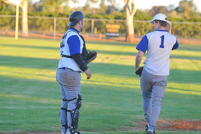 Dale Broughton (Renmark) discusses next ball with Renmark pitcher Stefan Best.