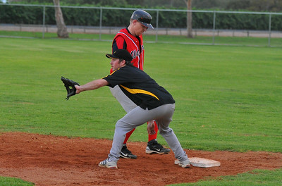 Gary Brinkworth (Berri) steps back onto 1st base as throw comes in