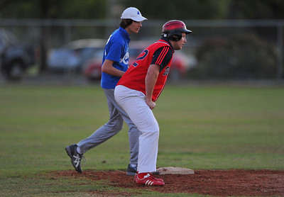 Geordie Franks( Berri) on first base with Darcey Sykes (Renmark)