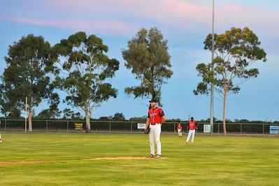 Nick Kuhn (Berri) prepares to pitch