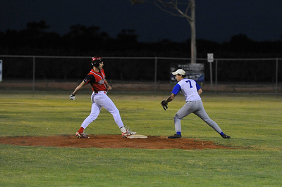 Jayden Perry (Renmark) attempts a tag out at  2nd base on Anton Cook (Berri)