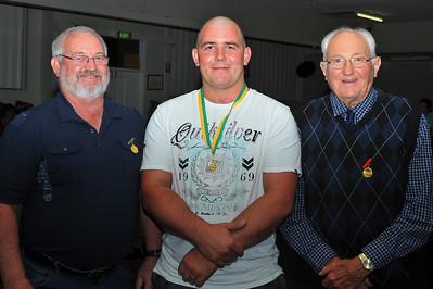 R.B.L. Senior Best and Fairest Award 2012/2013 Winner Dave Grenfell (Renmark) Pictured here receiving award from Baseball patrons (left) Kym Bament, Dave Grenfell (Renmark), Ken Weslink