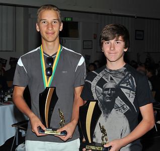 R.B.L. Seniors Trophy Rookie of the Year 2012/2013 Joint winners (.L to R.) Jerome Reimers (Lyrup), Matt Hren (Renmark)