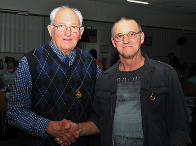 R.B.L. Life Member Status Awarded to Dave Adams (Renmark) Pictured here receiving award from Baseball Patron, Ken Weslink.(Left)