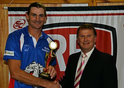 Nippys 2014 Goal kicking award:  Shane Schulz (Wunkar) with Geoff Nispell