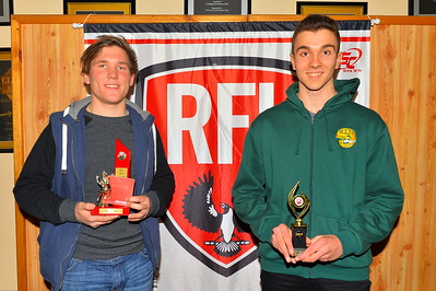 L to R, Best 1st Year Player, Bailey Heinrich (Wunkar) and Rising star winner, Jimmy Vlassopolous (Moorook)